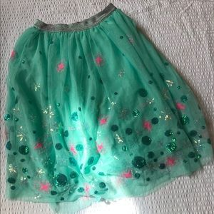 Sequined Princess tulle maxi skirt in sea foam